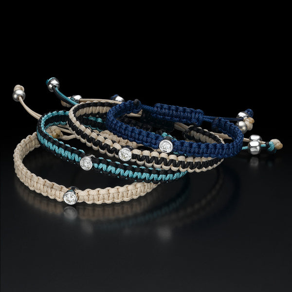 Diamond bracelets in different colors: blue, beige, turquoise