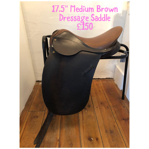 "17.5"" Medium Brown Dressage Saddle"