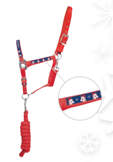Little Rider Christmas Head Collar and Lead Rope