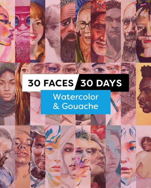 30 Faces/30 Days - Watercolor & Gouache