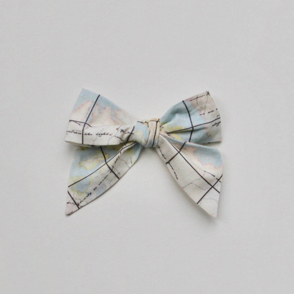 Map Print Hair Bow