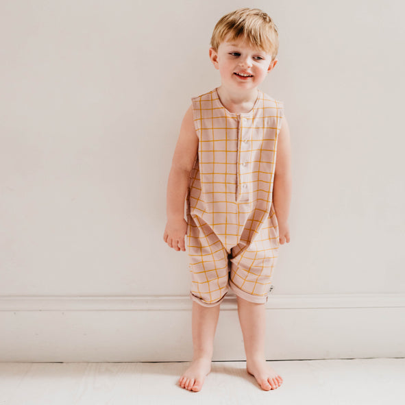 Roux Romper - Blush Check
