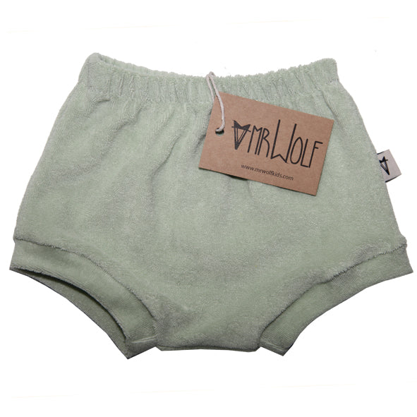 Baby Shorties - Mint Towelling