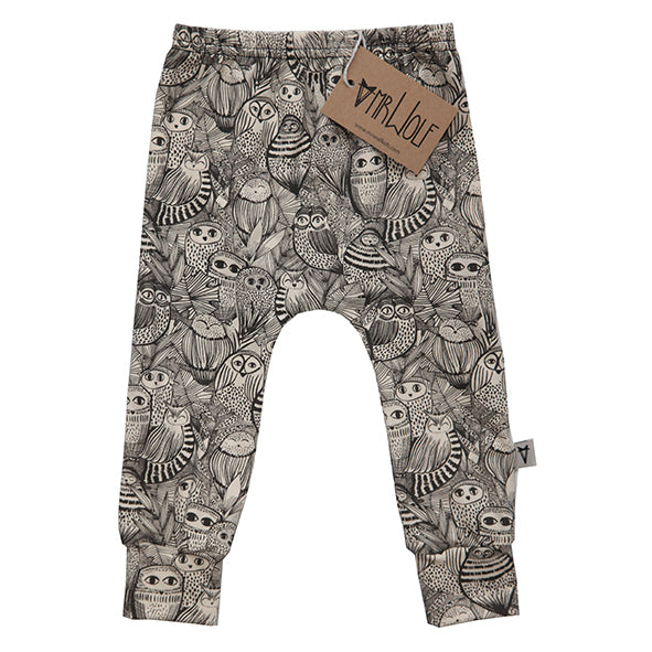 Baby Legging - Small Sketch Owl - Natural