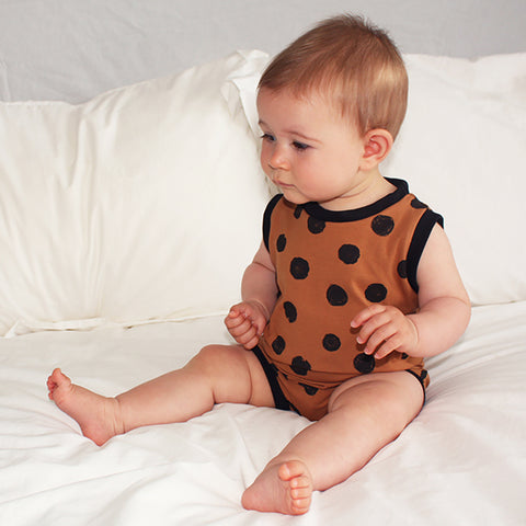 Pull On Shortie Romper - Cinnamon Spot