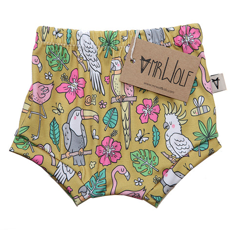 Baby Shorties - Tropical Birds - Mustard