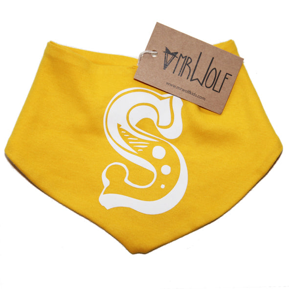 Baby Bandana Bib With Circus Initial - 10 different colour options