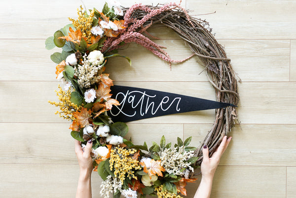 DIY Fall Wreath Featuring a CFL Pennant