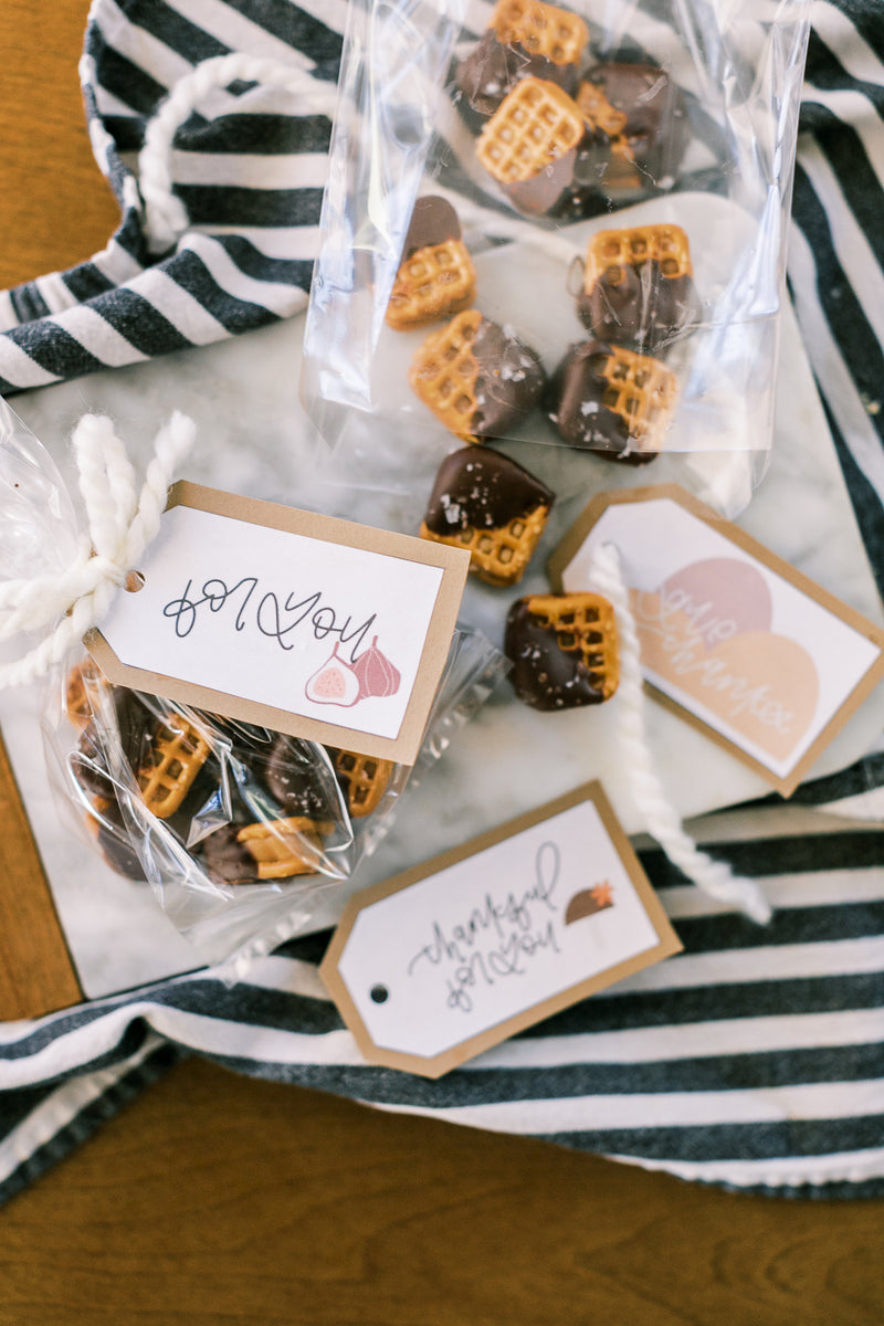 Chocolate Caramel Pretzel Treat for Neighbors with Gift Tag Printable