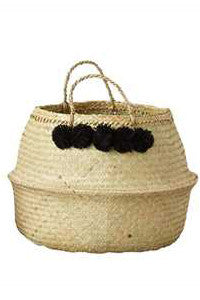Collapsible Basket with Pom Poms - Large
