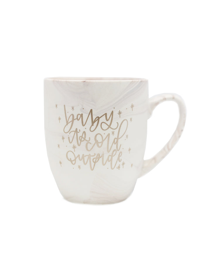 Baby it's cold Outside Marble Mug - Chalkfulloflove