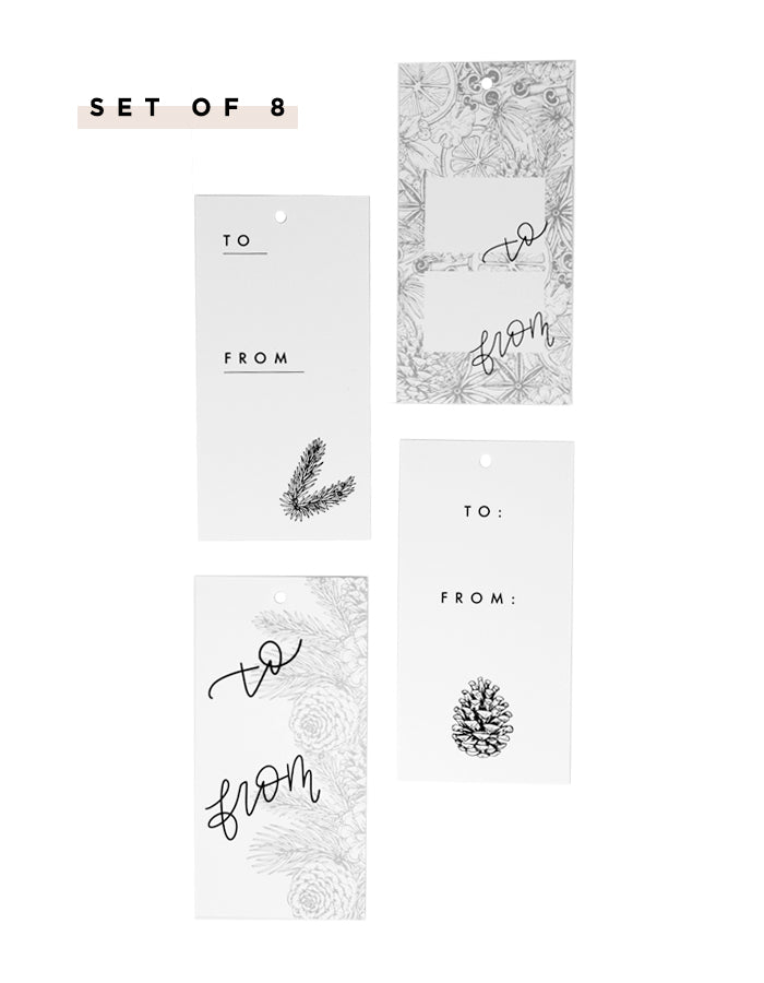 Holiday Gift Tags - Black and White - Chalkfulloflove