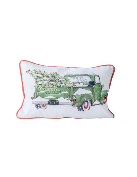 Christmas Truck Pillow with Dog - Chalkfulloflove