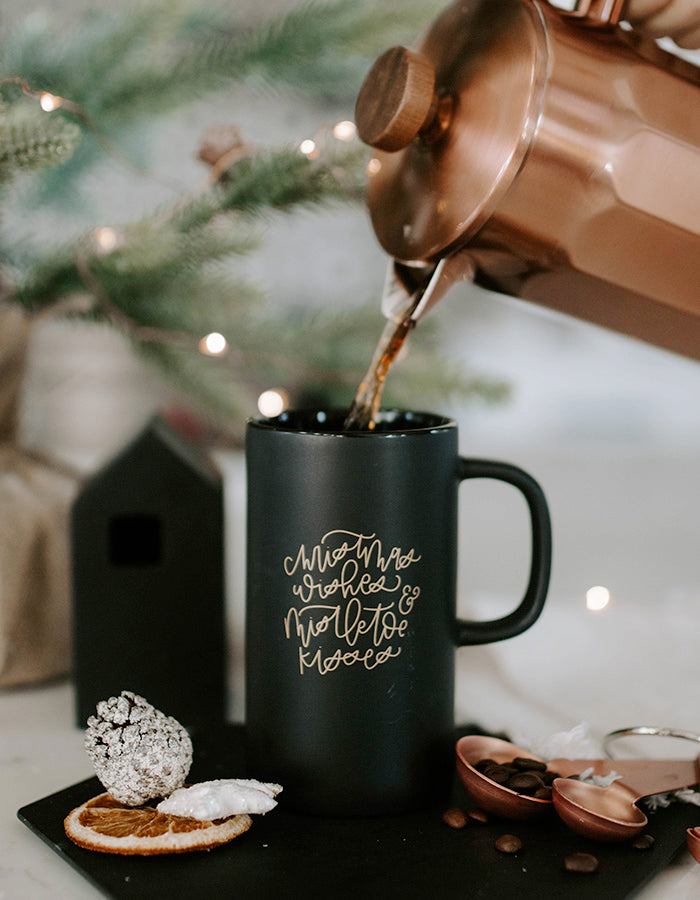 Christmas Wishes + Mistletoe Kisses Mug - Chalkfulloflove