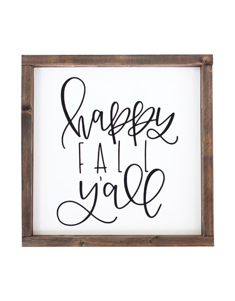 Happy Fall Y'all Wooden Sign - Chalkfulloflove