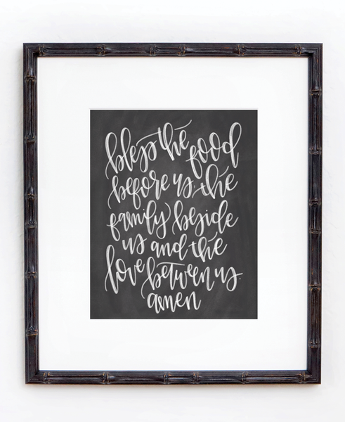 Bless the food before us Prayer Print - Chalkfulloflove