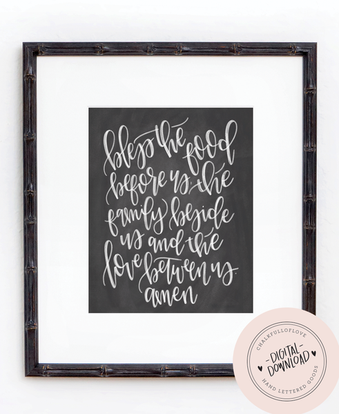 Bless the food before us Prayer Print - INSTANT DOWNLOAD - Chalkfulloflove