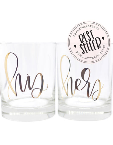His + Her Gold Foil Double Old Fashioned Glasses - Chalkfulloflove