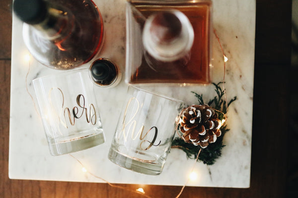 IMPERFECT His + Her Gold Foil Double Old Fashioned Glasses - Chalkfulloflove