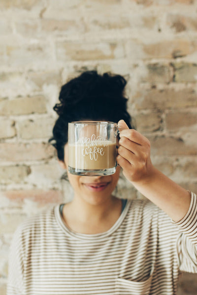 Top Knots and Coffee Hand Lettered Glass Mug