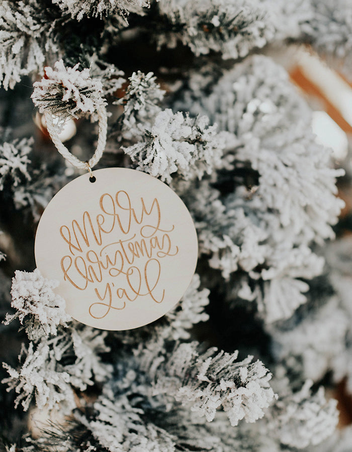 Merry Christmas Y'all Ornament - Chalkfulloflove