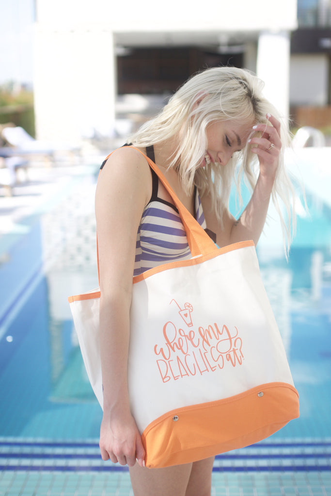 Where My Beaches at? Coral Tote - Chalkfulloflove
