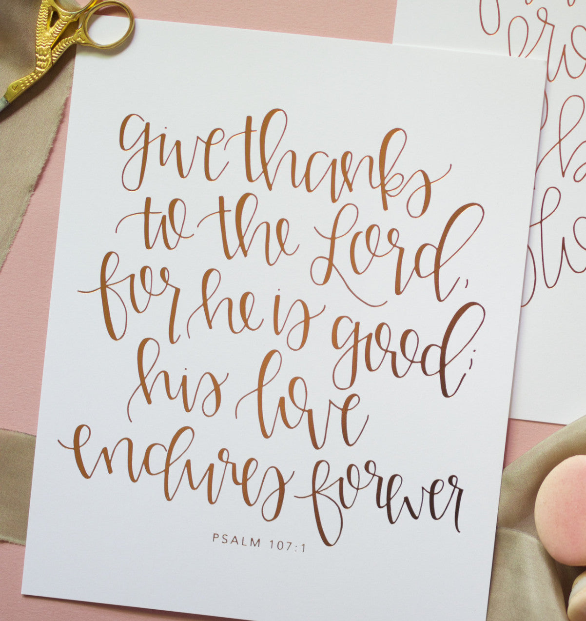 Give Thanks Rose Gold / Copper Foil Print - Chalkfulloflove