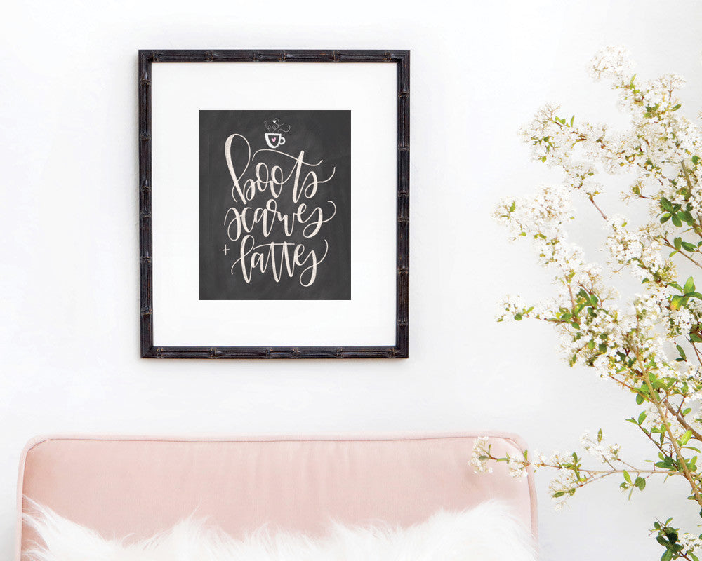 Boots, Scarves + Lattes Chalkboard Print - INSTANT DOWNLOAD - Chalkfulloflove