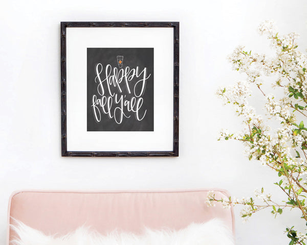 Happy Fall Y'all Chalkboard Print - Chalkfulloflove