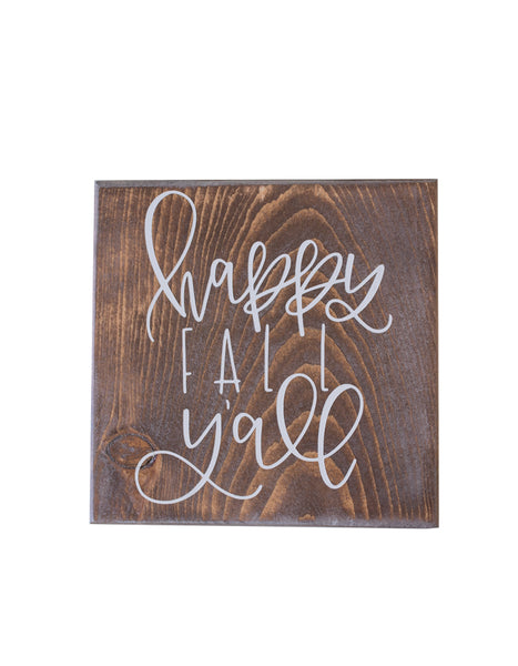 Mini Happy Fall Y'all Wooden Sign - Chalkfulloflove