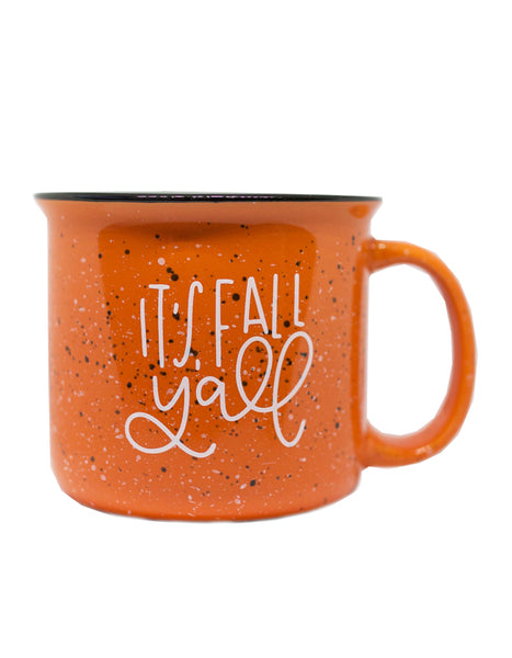 It's Fall Y'all Orange Camper Mug