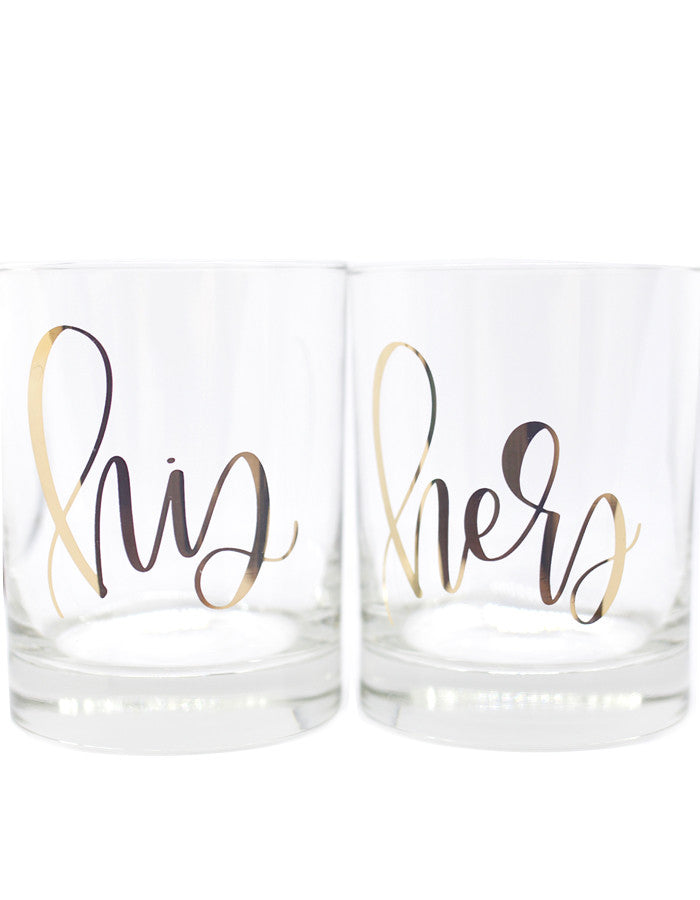 IMPERFECT His and Hers Gold Foil Double Old Fashioned Glasses