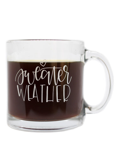 Sweater Weather Glass Mug - Chalkfulloflove