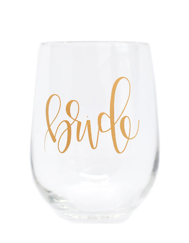 Bride Hand Lettered Wine Glass - Chalkfulloflove