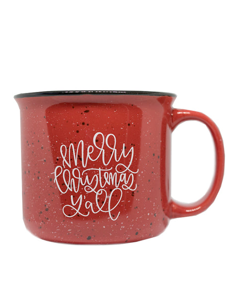 IMPERFECT Merry Christmas Y'all Red Camper Mug