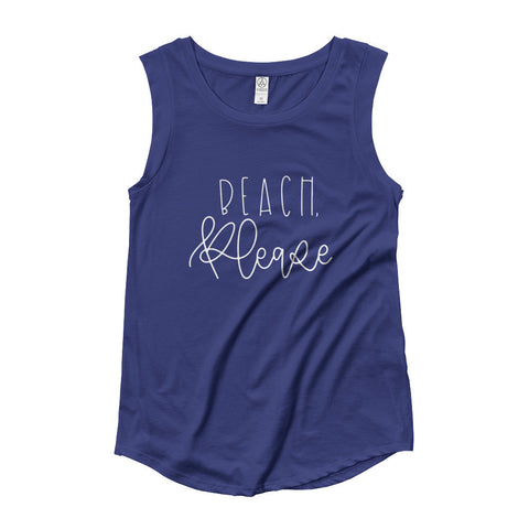 Beach Please Ladies' Cap Sleeve T-Shirt
