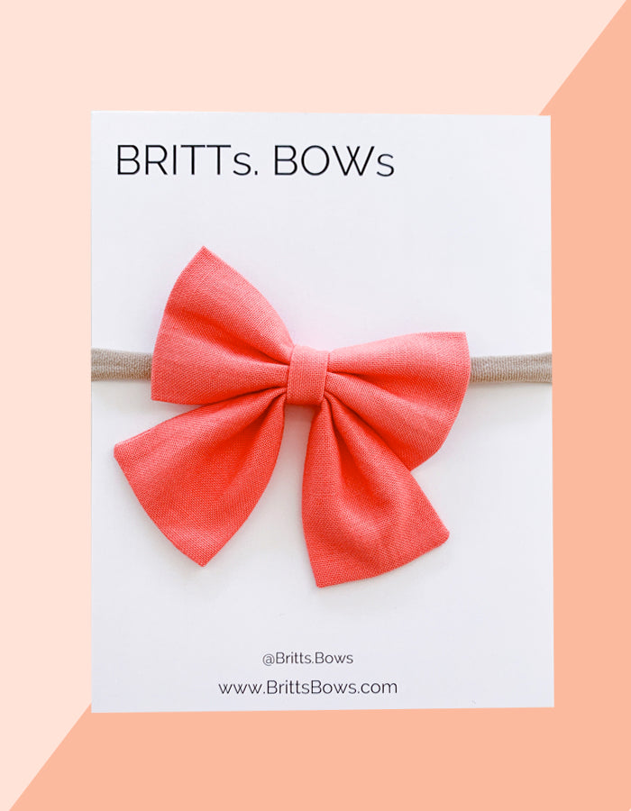 BRITTs. BOWs - Coral Pink Baby Girl Bow - Chalkfulloflove