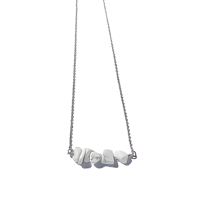 Howlite Bar Necklace Gold or Silver