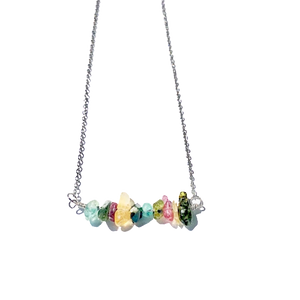 Tourmaline Bar Necklace Gold or Silver