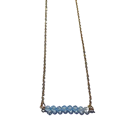 Rondelle Aquamarine Bar Necklace