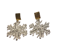 Clear Acrylic Snowflake Earrings