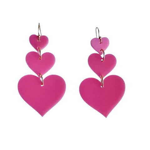 Pink Triple Heart Acrylic Dangle