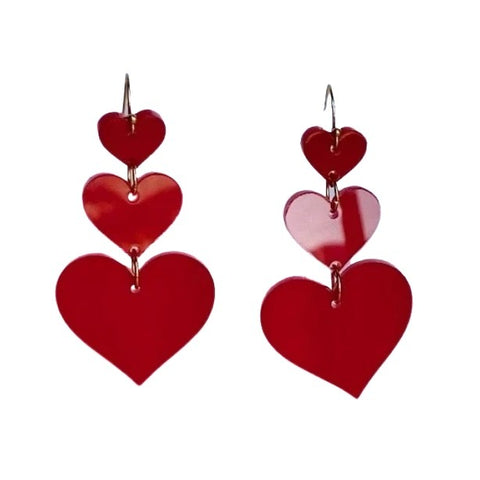 Red Triple Heart Acrylic Dangle
