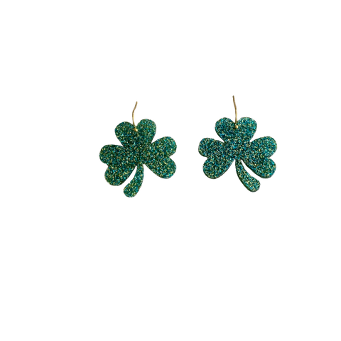 Sparkle Green Three Leaf Glover Earrings