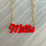 Acrylic Name Necklace with 16k Gold Plated Figaro Chain