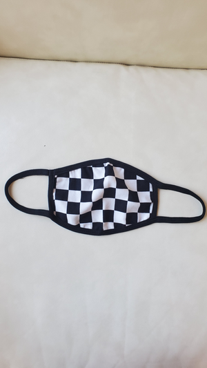 black checkered reusable face mask
