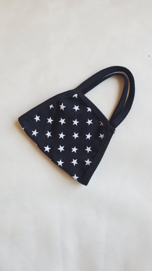 black stars fabric face mask
