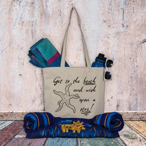 Beach tote bag - Get to the beach and wish upon a star