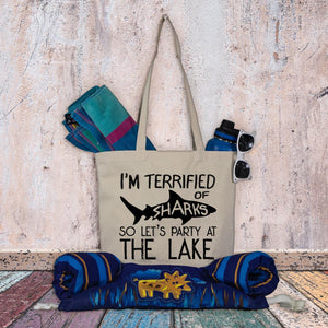 Lake tote bag - I'm afraid of sharks so let's party at the lake