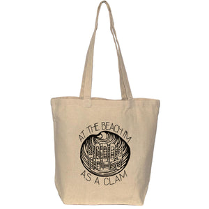 Funny Beach tote bag - Happy as a clam